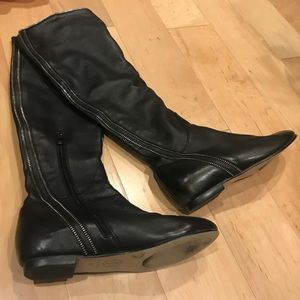 Tory Burch Black Leather Flat Knee High Boots, 40